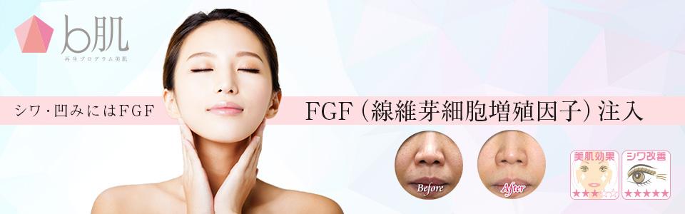 FGFは線維芽細胞そのものを増殖させ、組織再生を行う、シワ・くぼみに特化したアンチエイジング!ほうれい線や目元のシワ・たるみの改善はもちろん、目元のくぼみ等にも劇的な効果が期待出来ます!