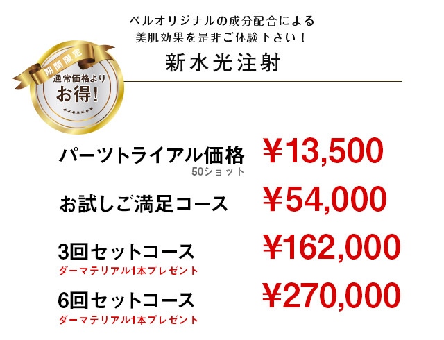 ベルオリジナルの成分配合による美肌効果を是非ご体験下さい! 新水光注射 パーツトライアル価格 ¥13,500 トライアルコース ¥27,000 お試しご満足コース ¥54,000 *通常下記のコースはございません。